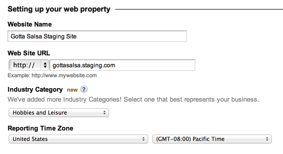 Google Analytics Web Property Settings