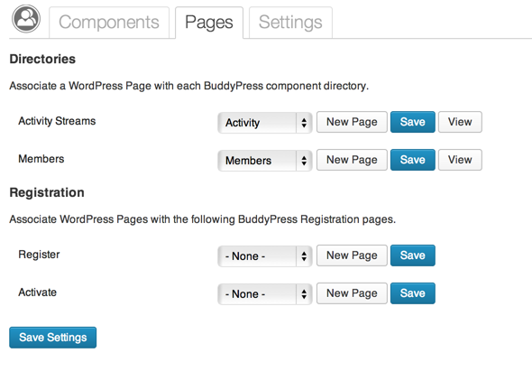 BuddyPress Page Settings