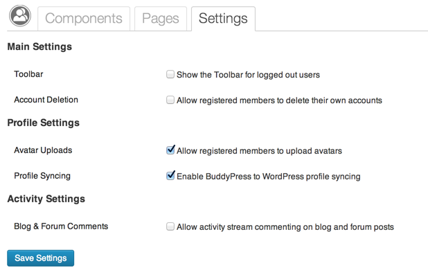 BuddyPress Settings Settings