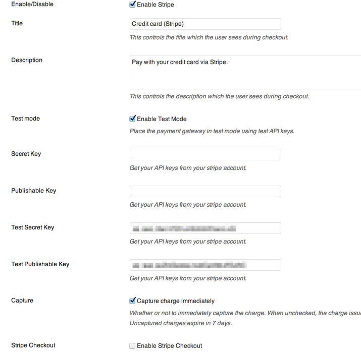 WooCommerce Stripe Settings